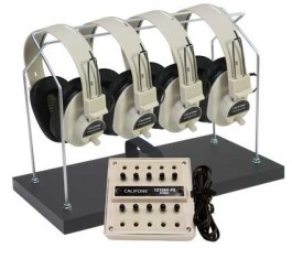 4-Position Multimedia Stereo Listening Centers with Headphone Rack and Dust Cover