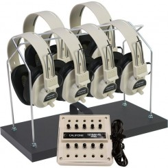 6-Position Listening Centers with Headphone Rack & Dust Cover