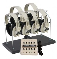 6-Position Non-Powered Stereo Listening Centers with Headphone Rack & Dust Cover
