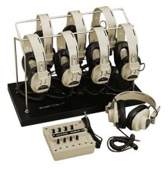 8-Position Listening Centers with Headphone Rack & Dust Cover