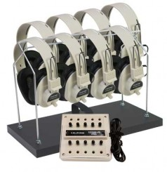 8-Position Non-Powered Stereo Listening Centers with Headphone Rack & Dust Cover