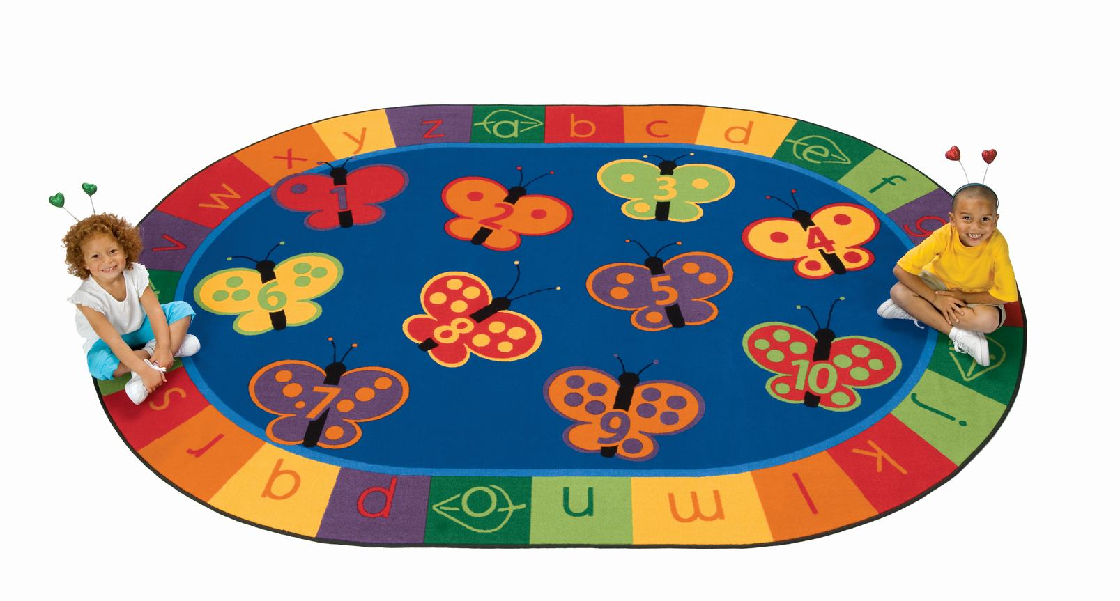 3507 7 8 X 10 10 123 Abc Butterfly Fun Rug Oval