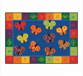 Rectangle 123 ABC Butterfly Fun Rug
