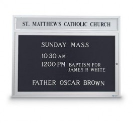 "43""WX33""H Outdoor Illum. Church Letterboard w/ Header"