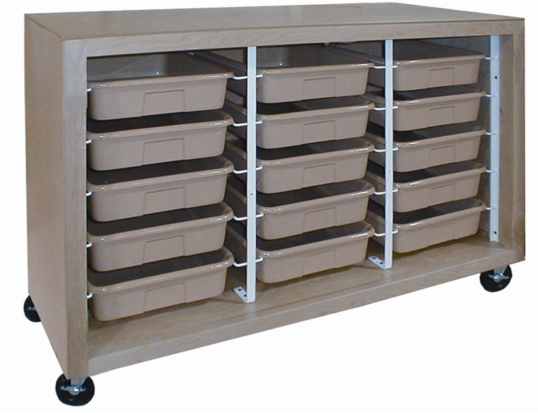 Mobile Tote Tray Cabinet with 15 Trays - Educator's Depot