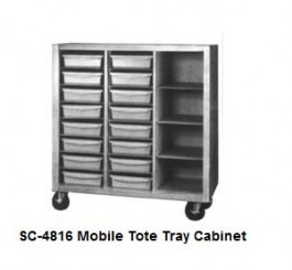 Mobile Tote Tray Cabinet with 16 Trays