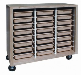 Mobile Tote Tray Cabinet with 24 Trays