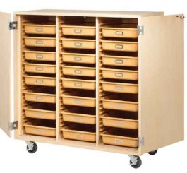 Mobile Tote Tray Cabinet with 24 Trays & Locking Doors