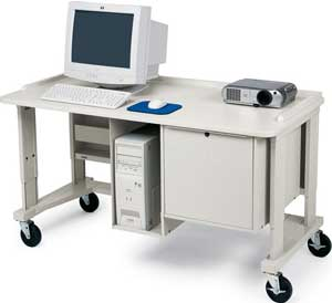 Multimedia Workstation/Teacher Station With Locking Cabinet