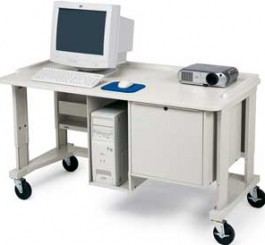 Multimedia Workstation/Teacher Station Loaded with Locking Cabinet