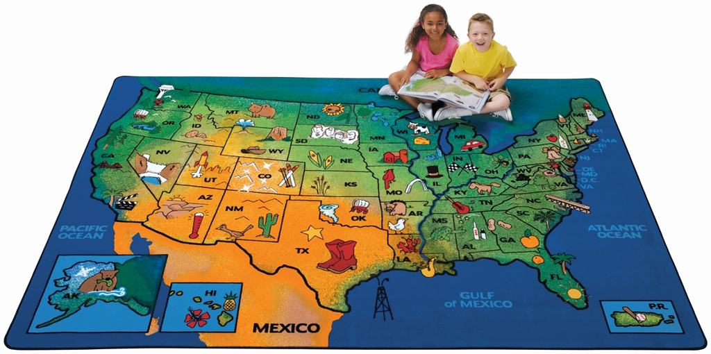 "Rectangle ""USA Learn & Play"" Rug-7'8"" x 10'10"""