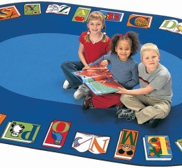 """Oval """"Reading by the Book"""" Rug-6'9""""H x 9'5""""W"""