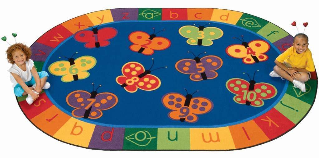 "Oval ""123 ABC Butterfly Fun"" Rug-6'9"" x 9'5"" Oval"