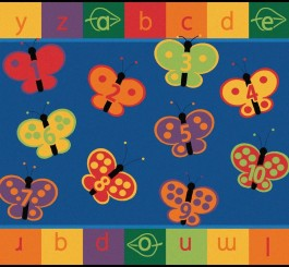 "Rectangle ""123 ABC Butterfly Fun"" Rug-5"