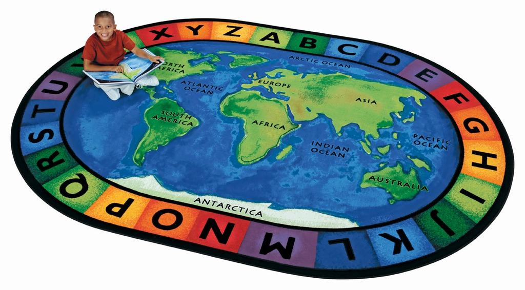 "Oval ""Circletime Around the World"" Rug-6'9"" x 9'5"""