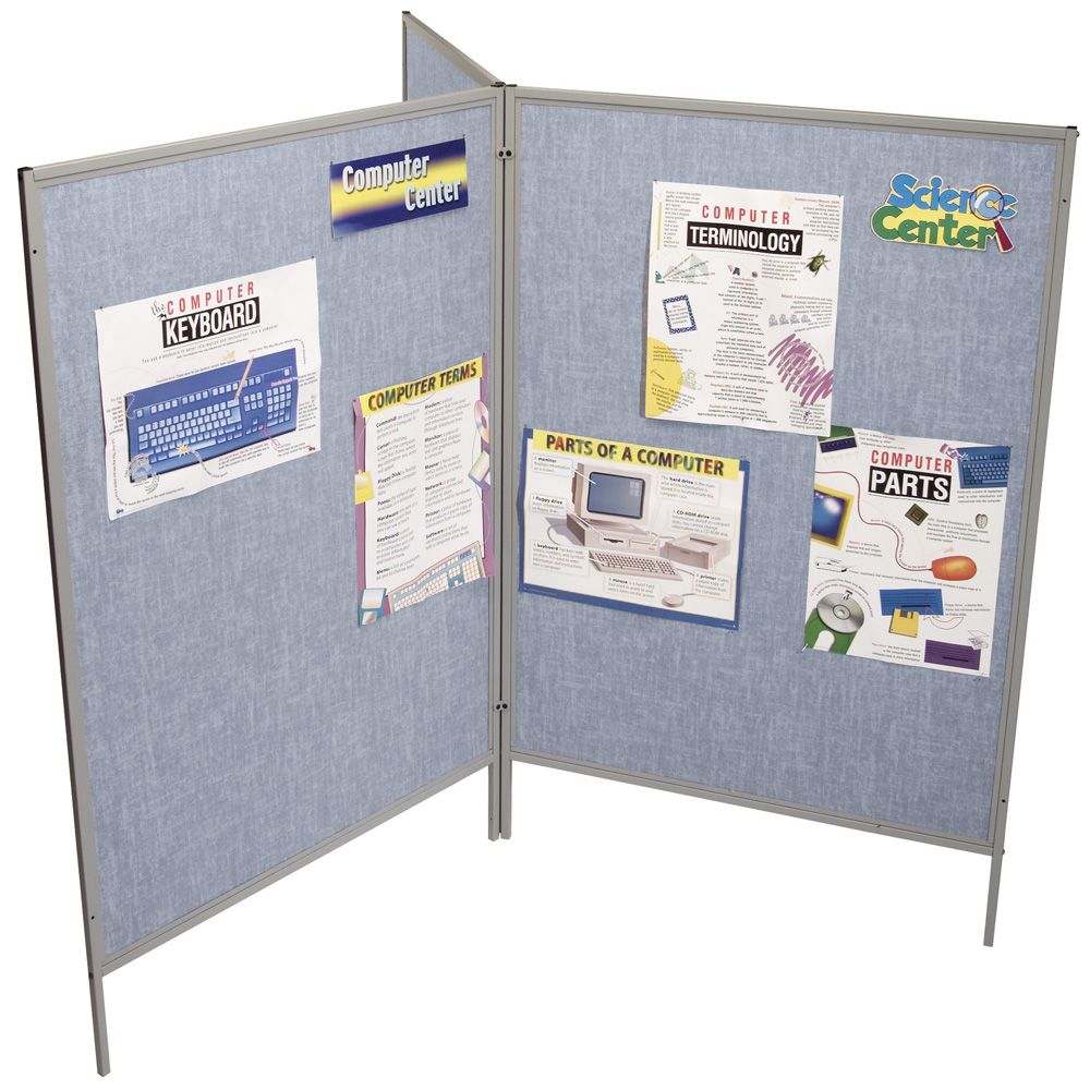 Mobile Floor Display Panels Set of 3 Panels / Pacific Blue Vinyl