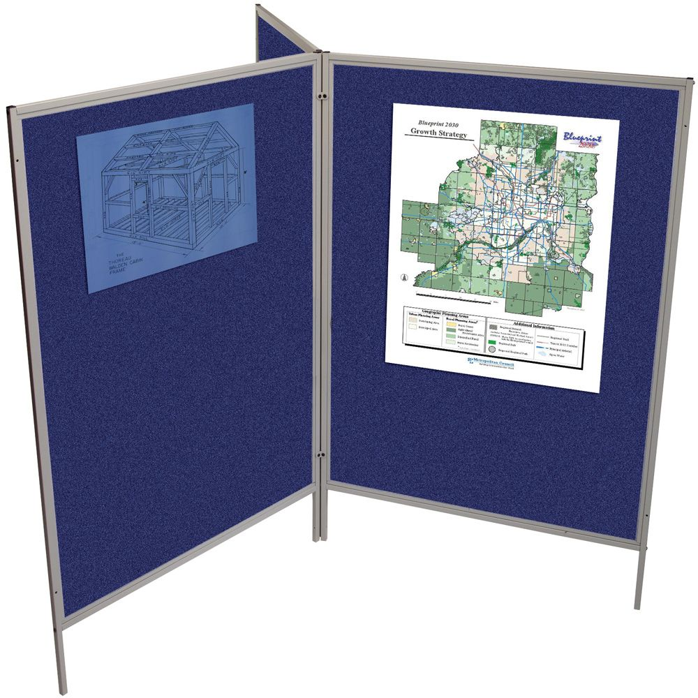 Mobile Floor Display Panels Set of 3 Panels / Royal Hook & Loop