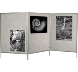 Mobile Floor Display Panels Set of 3 Panels / Silver Hook & Loop