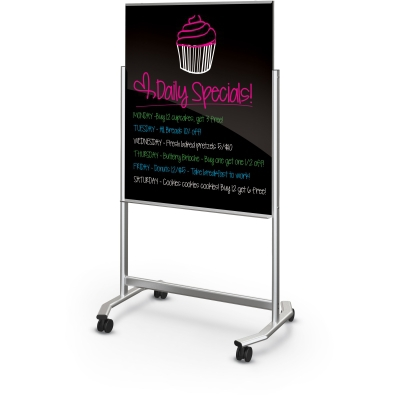 Visionary Move - Mobile Black Glass Whiteboard