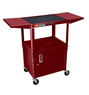 Burgundy - Adjustable Height Steel A/V Cart w/Cabinet, Drop Leaf Shelves