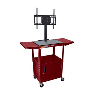 "Burgundy 42"" - Adjustable Height Steel A/V Cart w/LCD Mount, Cabinet, Drop Leaf"