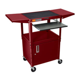 Burgundy - Adjustables Table Height Steel A/V Cart w/Pullout Tray, CabInet, Drop Leaf Shelves