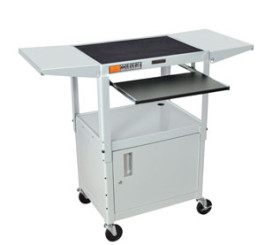 Lt Gray - Adjustables Table Height Steel A/V Cart w/Pullout Tray, CabInet, Drop Leaf Shelves