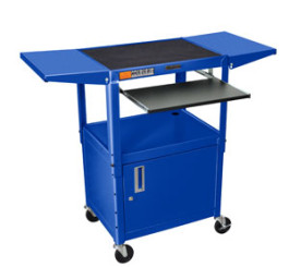 Royal Blue - Adjustables Table Height Steel A/V Cart w/Pullout Tray, CabInet, Drop Leaf Shelves