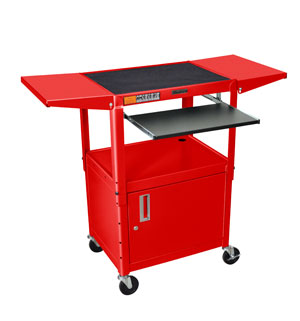 Red - Adjustables Table Height Steel A/V Cart w/Pullout Tray, CabInet, Drop Leaf Shelves
