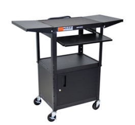 Adjustable Height Steel A/V Cart w/Pullout Tray, CabInet, Drop Leaf Shelves