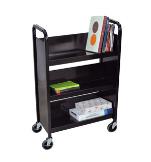 Book Truck Black 3 sIngle sides shelves
