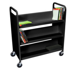 Book Truck Black 6 sIngle sides shelves