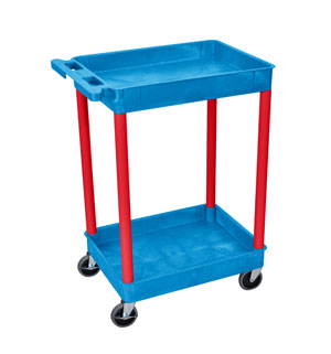 3 Shelf Blue Tub Cart /Red Legs