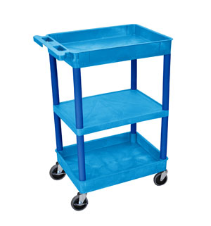 3 Shelf Blue Tub Cart/Blue Legs