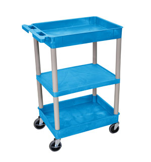 3 Shelf Blue Tub Cart/GRY Legs