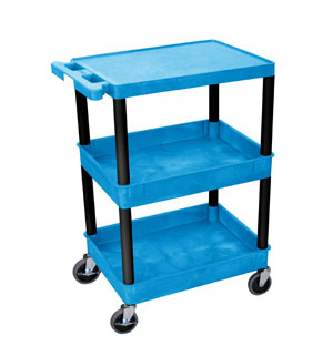 3 Shelf Blue Tub Cart w/Black Legs