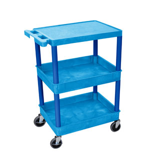 3 Shelf Blue Tub Cart w/Blue Legs