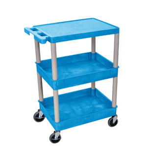 Blue 3 Shelf Tub Cart w/ GRA Legs