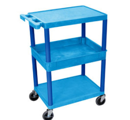 3 Shelf Tub Cart w/Flat bottom