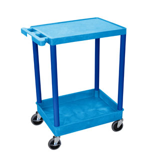 2 Shelf Blue Tub Cart w/ Blue Legs