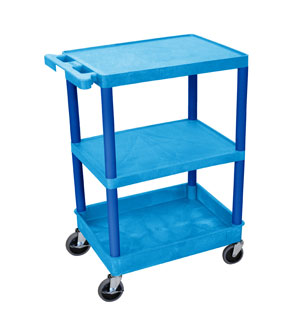 3 Shelf Blue Tub Cart w/ Flat Middle