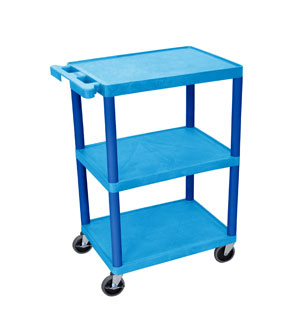 Blue/Blue 3 Flat Shelf Cart