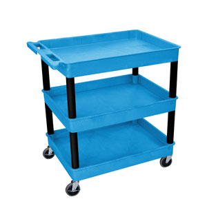 3 Shelf Blue Tub Cart/BLK Legs