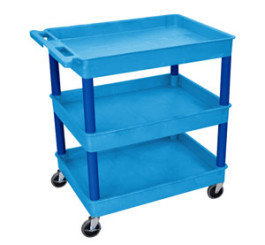 3 shelf blue tub cart - Av Cart