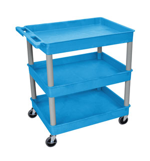 3 Shelf Blue Tub Cart/Gray Legs