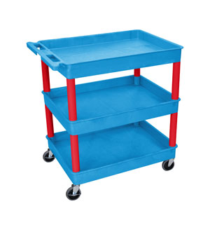 3 Shelf Blue Tub Cart/Red Legs