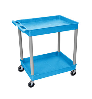 2 Shelf Blue Tub Cart/GRY Legs
