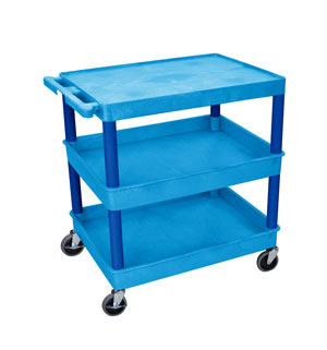Blue 3 Shelf Tub Cart w/Blue L