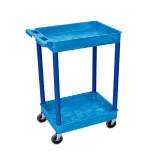 Small Blue 2 Shelf Tub Cart