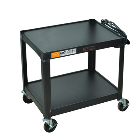 "26"" Fixed Height Steel A/V Cart - Two Shelves"